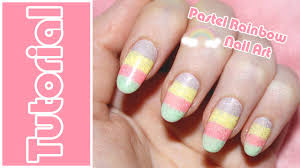 Tutorial - Pastel Rainbow Nail art - YouTube