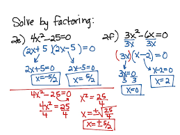 4 5 solving quadratic equations by factoring math showme