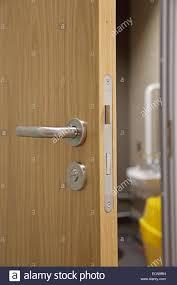modern interior door handles. A Partially Open, Modern, Oak-finish Interior Door Showing Handle, Lock And Mechanism Disabled Toilet Beyond Modern Handles