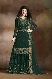 Designer Sharara Suits Pine Green Silk Sharara Suits