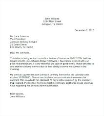Letter For Termination Of Contract Sample Contract Termination
