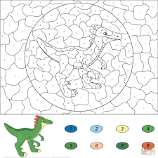 Happy Color By Number Dinosaur 71 #1441