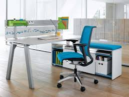 best blue ergonomic office chairs with white desk in wood flooring