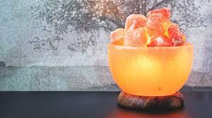 himalayan salt lamp in shape of bowl