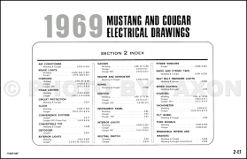 1969 ford mustang and mercury cougar wiring diagram original table of contents page