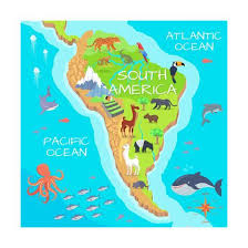 South America Mainland Cartoon Map With Fauna Species Cute American Animals Flat Vector Amazonianby Robuart
