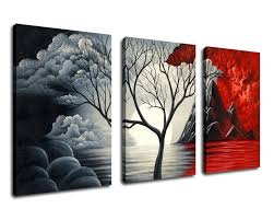 com extra large cloud tree abstract painting canvas prints wall art decor framed 30x60 inch 3 panel contemporary giclee art reions modern