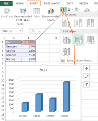 How To Draw A Column Chart In Excel 2007 How To Create A Chart In Excel From Multiple Sheets