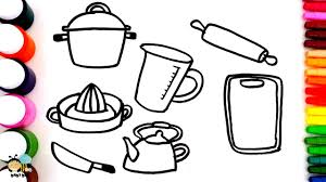 Small Picture Coloring pages for kids to learn colors with Kitchen utensils
