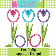 Free Applique Embroidery Designs To Download Spring Tulips Free Easter Applique Machine Embroidery Design
