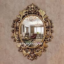 large big decorative cosmetic antique oval wall mirror with frame