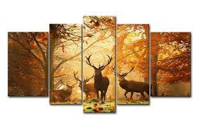 com brown 5 panel wall art painting deer in autumn forest pictures prints on canvas animal the picture decor oil for home modern decoration print