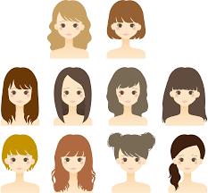 フリーイラスト ヘアスタイルの違う10人の女性のセットでアハ体験