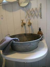 bathrooms design diy concrete sink galvanized wash tub bathroom
