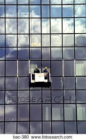 Stock Photography Of Men Cleaning Windows Of Glass Office Block Bac
