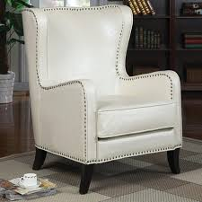 leather wingback chair with nailhead trim desk decorating ideas on a budget