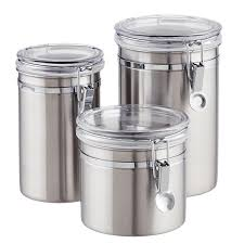 Kitchen Storage Canisters Stainless Steel Canisters Brushed Stainless Steel Canisters