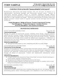 Construction Project Manager Resume Examples Erp Specialist Sample