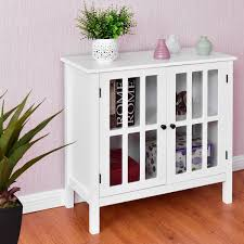 costway storage buffet cabinet glass door sideboard console table server display white 0