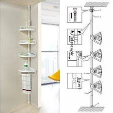 Telescopic Shower Corner Shelves FunkyBuys WHITE 100 Tier Adjustable 10021000cm SI100 Telescopic 5