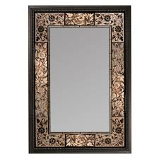 wood wall mirror. Deco Mirror 26 In. X 37 French Tile Rectangle In Dark Brown Wood Wall