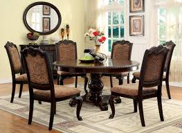 Cherry Wood Kitchen Table Sets Furniture Of America Brown Cherry Georgetown 7 Piece Formal Round