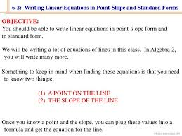 6 2 writing linear equations in point slope and standard forms