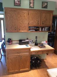 before old cabinets with unused kitchen desk catch all