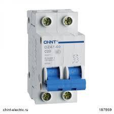 <b>Автоматический выключатель</b> DZ47-60 2Р <b>10А</b> 4.5кА х-ка D (CHINT)