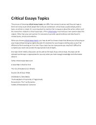 critical essay writing topics