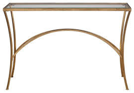 minimalist gold arch console table metal glass top hall entry