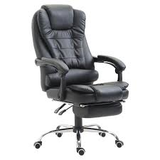 homcom high back reclining pu leather executive office chair with footrest black 0