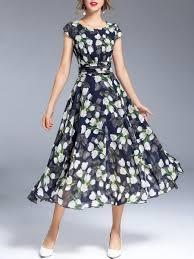 Unique Designer Dresses Online Shop Maxi Dresses Navy Blue Casual A Line Crew Neck Maxi
