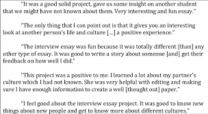 Example Interview Essay Sample Student Reflections On Interview Essay Fall 2011