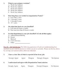 Sample Employee Questionnaire Job Satisfaction Survey Sample Questionnaire Employee Templates