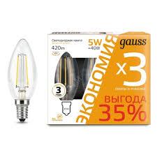 Светодиодная <b>лампа Gauss Filament Свеча</b> E14 5W 420lm 2700К ...