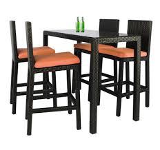midas long 4 chair bar set orange cushion
