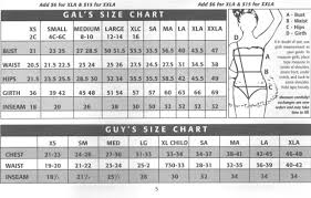 Wolff Fording Size Chart Costume Size Charts