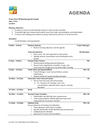Agenda Meeting Template Qualified Agenda Template Sample For Project Kick Off Meeting With 7