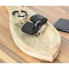wooden fish shaped coin and keys tray