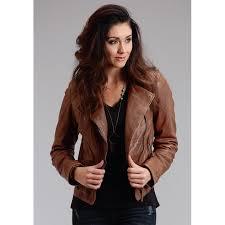 womens moto style zip front leather jacket jacket