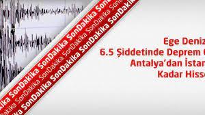 Son Depremler : Ege Denizi'nde 6.5 Şiddetinde Deprem ! İstanbul'da  Hissedildi