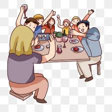 hand drawn cartoon friends gathering scenes colleagues gathering dinner decorative pattern eat png