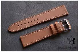 gold brown barenia calfskin leather watch band white stitching handmade