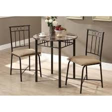 3 Piece Dining Set 3 Piece Dining Set Round Table 2 Chairs Bronze Metal Marble