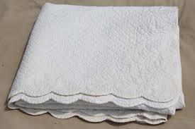 all white wholecloth quilt, vintage quilted cotton bedspread bed cover &  Adamdwight.com