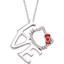 hello kitty sterling silver 1 10 ctw diamond silhouette kitty pendant