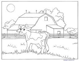 Farm Coloring Pictures Cow And Barn Coloring Page Baby Farm Animals
