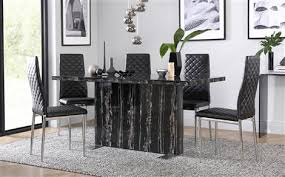 magnus black marble dining table with 6 renzo chairs chrome pertaining to inspirations 9