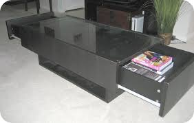 black glass top ikea hemnes coffee table with two drawers on the both sides